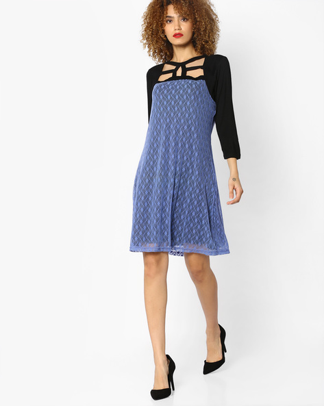 Dress With Contrast Yoke By And ( Ltpink )