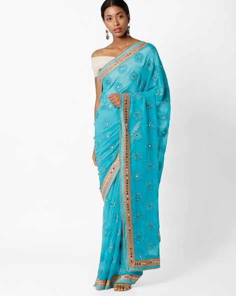 Embellished Mirror Work Saree By Amori ( Seagreen )