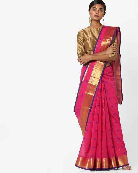 Woven Jacquard Saree With Zari Border By Era ( Pink )