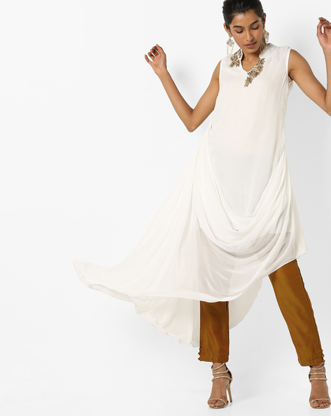 Embellished Kurta With Drape Silhouette By AJIO ( Ivory )