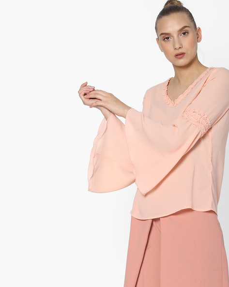 Bell-Sleeve V-neck Top With Ruffles By FIG ( Ltpeach )