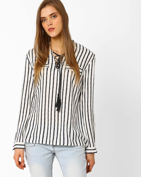 Striped Top With Lace-Up By FIG ( White )