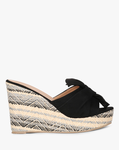 Open-Toed Wedge Heel Sandals By Project Eve ( Black )