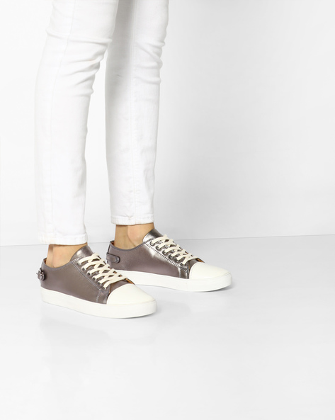 Metallic Lace-Up Casual Shoes By AJIO ( Pewter )