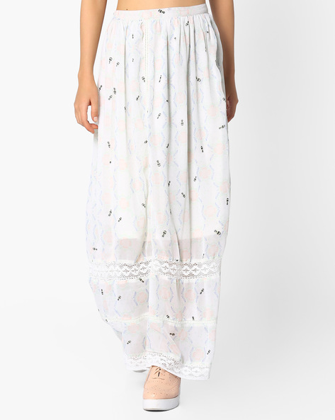 Printed Mid-Rise Maxi Skirt By Oxolloxo ( Multi )