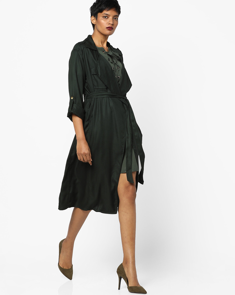 Trench Coat With Roll-Up Sleeves By AJIO ( Green )