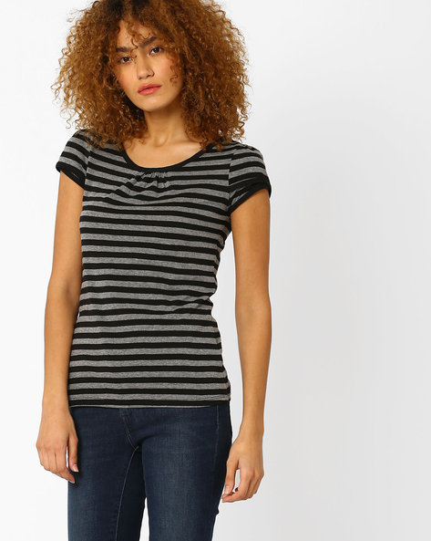 Striped Top With Overlapping Sleeves By Ajile By Pantaloons ( Black )