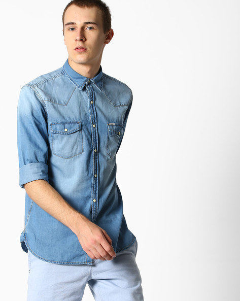 Washed Denim Shirt With Angled Yoke By Pepe Jeans ( Ice )
