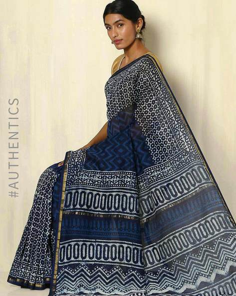 Handblock Print Indigo Chanderi Saree With Zari Border By Indie Picks ( Indigo ) - 460053734001
