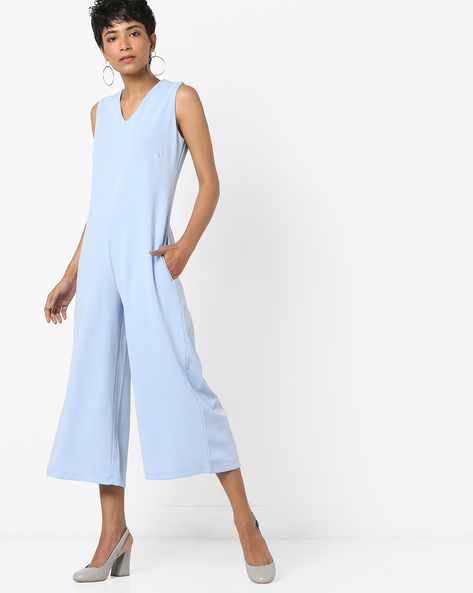 Calf-Length Sleeveless Jumpsuit By AJIO ( Blue )