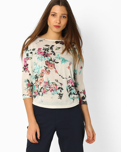 Floral Print Top With Dolman Sleeves By And ( Multi )