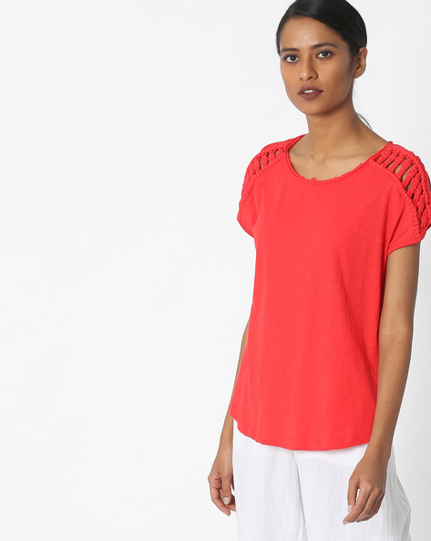 Slub Knit Round-Neck T-shirt By Vero Moda ( Red )