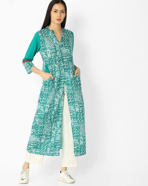 Abstract Print Kurta With Front Slit By Jaipur Kurti ( Turquoise )