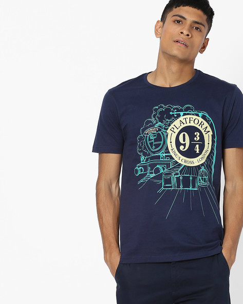 Graphic Print Cotton T-shirt By Souled Store ( Navyblue )