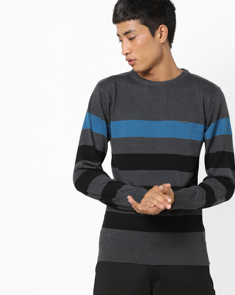 Striped Crew-Neck Pullover By PROLINE ( Charcoal )