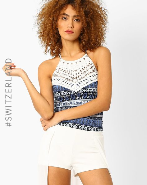 Printed Spaghetti Top With Crochet By TALLY WEiJL ( Blue )