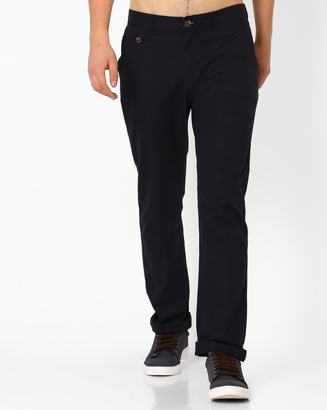 Mid-Rise Tapered Trousers By NETPLAY ( Navy )