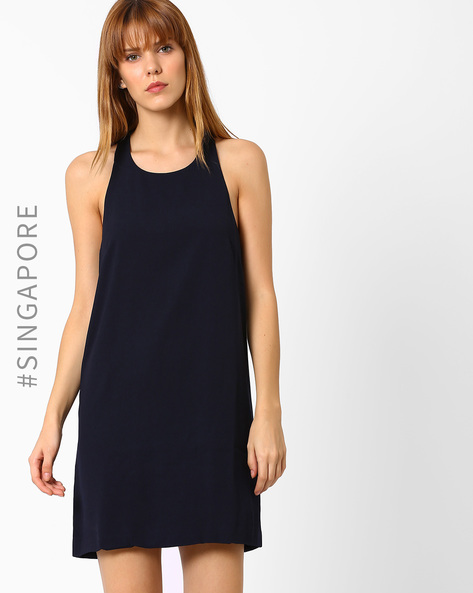 Shift Dress With Back Zipper By MDS ( Navyblue )