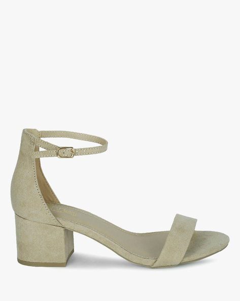 Block Heels With Buckle Closure By BSH ( Nude )