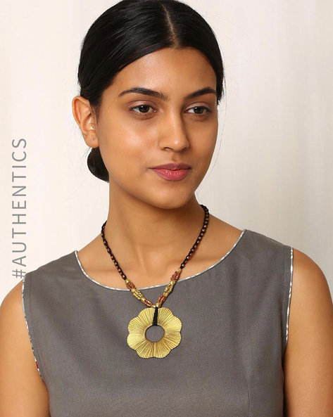 Handcrafted Dhokra Brass Necklace By Indie Picks ( Black ) - 460016916001