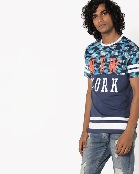 Cut & Sew Cotton T-Shirt By Teamspirit ( Blue )