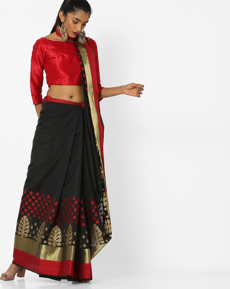 Printed Saree With Contrast Border By CHHABRA 555 ( Black ) - 460132415001