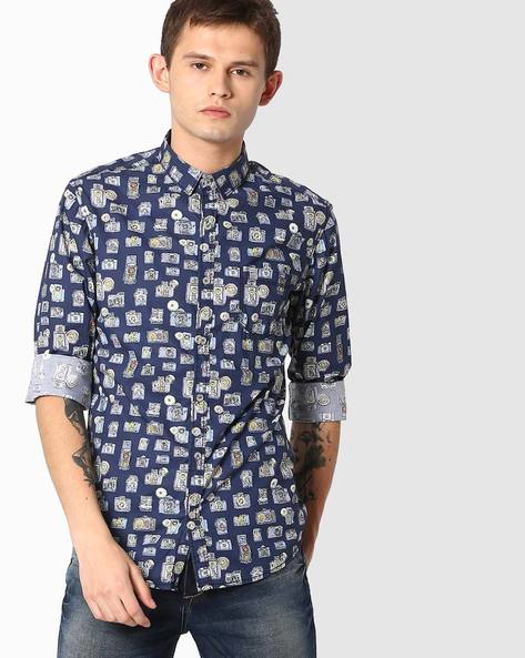 Printed Slim Fit Shirt By MUFTI ( Navyblue )