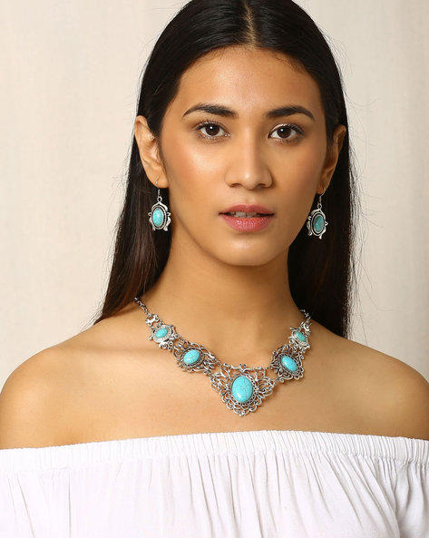 Metal Necklace & Earring Set By Indie Picks ( Turquoise )