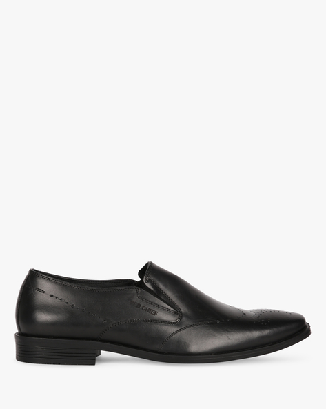 Leather Slip-On Shoes With Broguing By RED CHIEF ( Black )