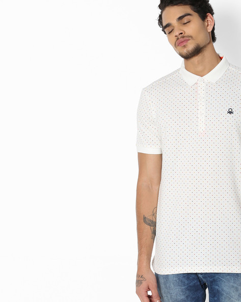 Polka-Dot Print Polo T-Shirt By UNITED COLORS OF BENETTON ( White )