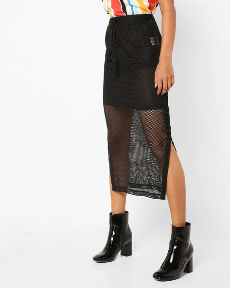 Maxi Skirt With Layered Mesh By AJIO ( Black )