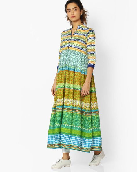 Printed Cotton Anarkali Kurta By Libas ( Green )