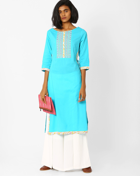 Straight Kurta With Side Tie-Ups By AJIO ( Turquoise )