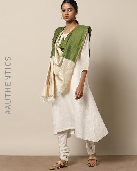 Handloom Pure Silk Tussar Muga Dupatta By Indie Picks ( Olive )