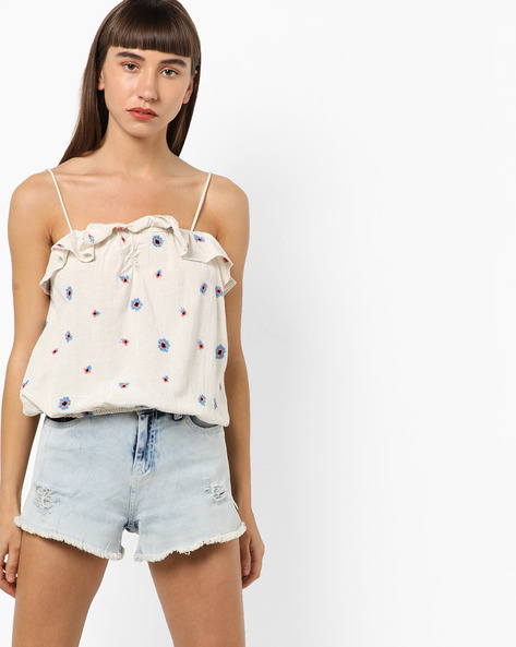 Floral Embroidered Top With Ruffled Layer By Only ( White )