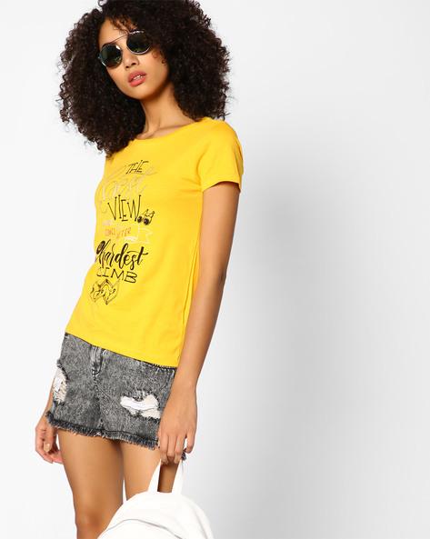 Graphic Print Crew-Neck T-shirt By AJIO ( Yellow ) - 460077852011