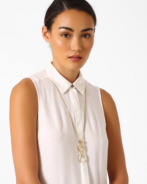 Embellished Horseshoe Pendant Necklace By Pipa Bella ( White )