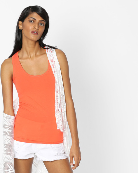 Racer-Back Cotton Top By Pink Woman ( Orange )