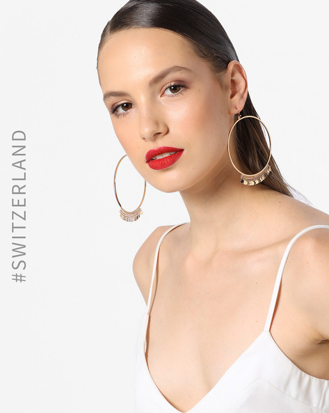 Hoop Earrings With Metal Accents By TALLY WEiJL ( Yellow )