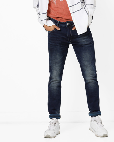 Mid-Wash Slim-Fit Jeans With Whiskers By RexStraut JEANS ( Blue )