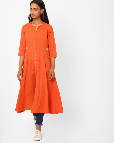 Flared Kurta With Front Slit By AJIO ( Orange )