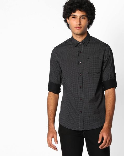 Slim Fit Printed Cotton Shirt By The Indian Garage Co ( Black )