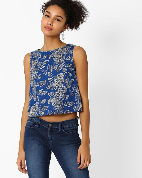 Printed Sleeveless Top With Envelope Back By AJIO ( Indigo )