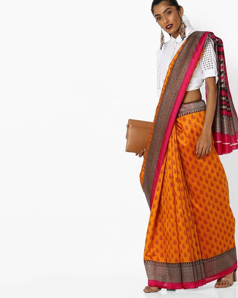 Printed Saree With Contrast Border By CHHABRA 555 ( Mustard )
