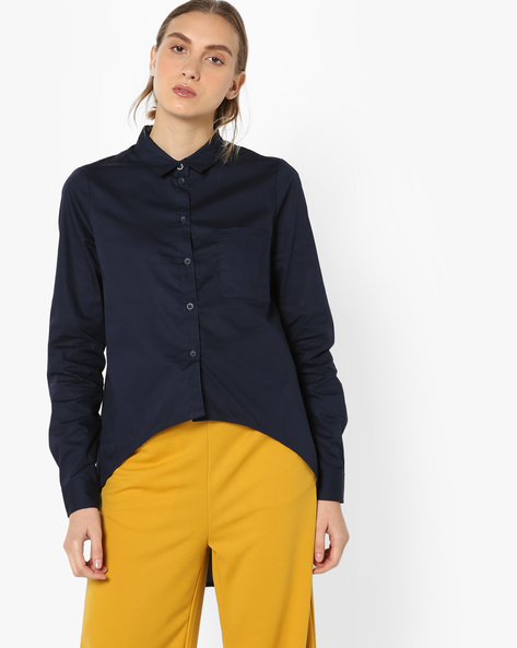 Button-Down Shirt With Dipped Hemline By Vero Moda ( Black )