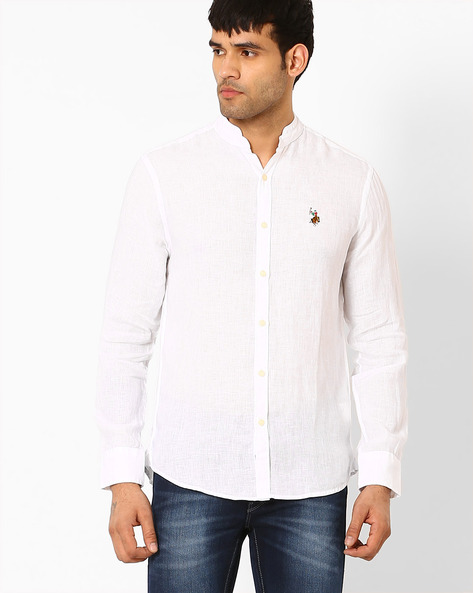 Slim Linen Shirt With Band Collar By US POLO ( White )