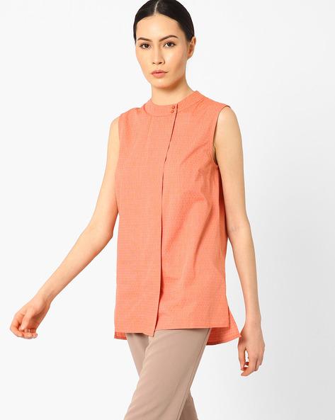 High-Low Sleeveless Shirt By AJIO ( Orange )