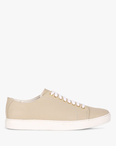 Panelled Lace-Up Casual Shoes By AJIO ( Beige )