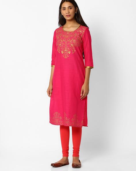 Straight Printed Cotton Kurta By AURELIA ( Pink )