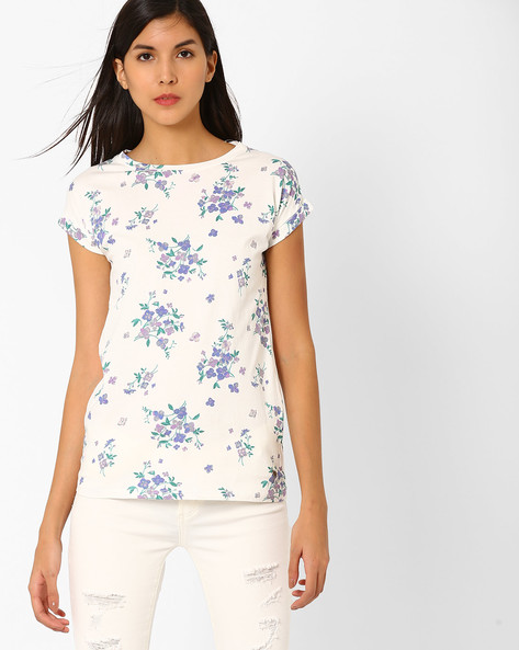 Floral Print Cotton Top By Pepe Jeans ( Offwhite )